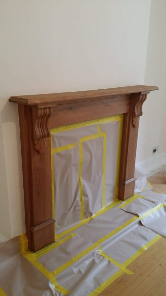 preparing a fireplace surround for painting